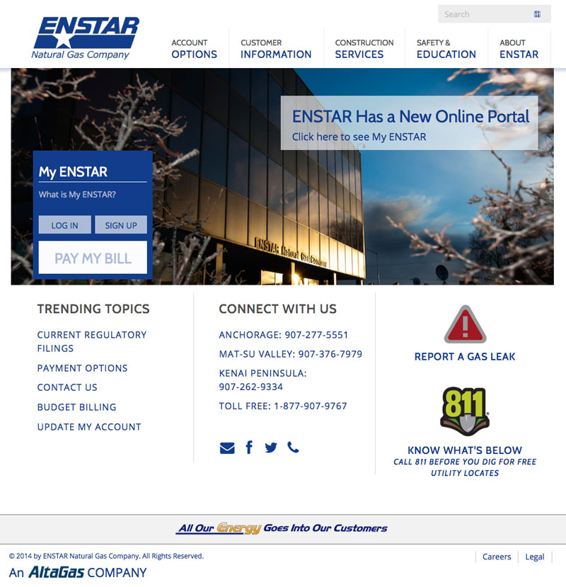 ENSTAR Natural Gas website, designed by Sound Web Solutions