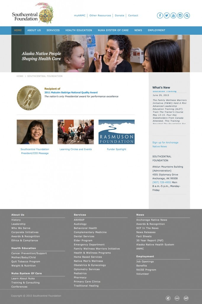 Newly launched Southcentral Foundation website, built WordPress