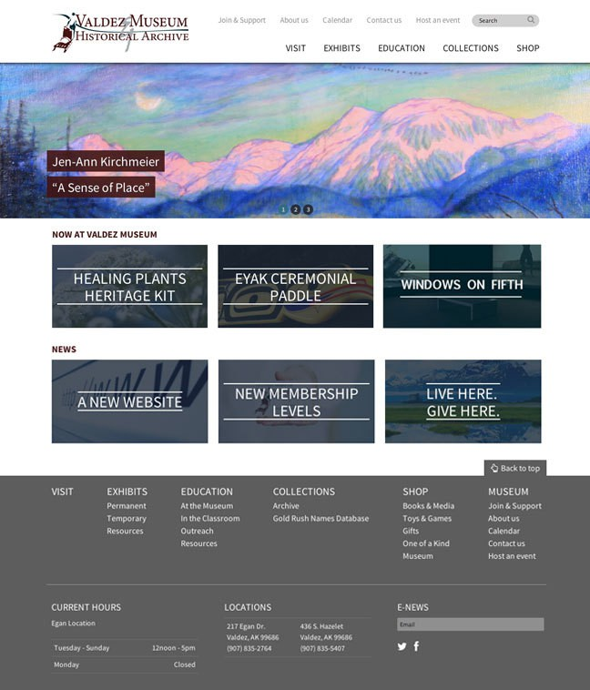 Valdez Museum & Historical Archive, new website designed by Sound Web Solutions