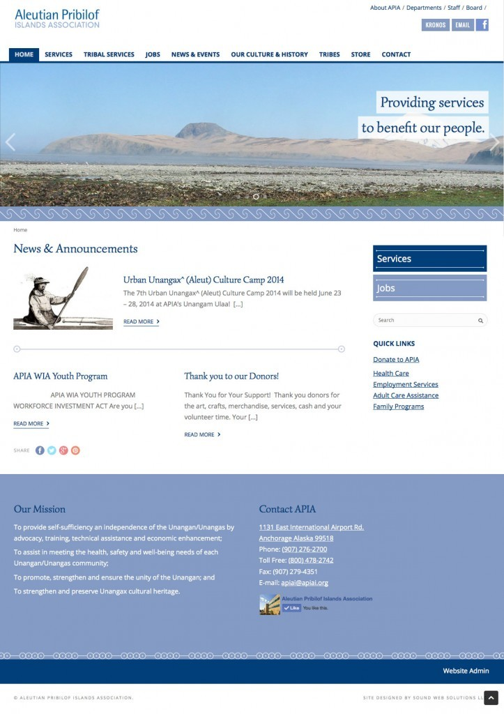 Aleutian Pribilof Islands Association website redesigned by Sound Web Solutions