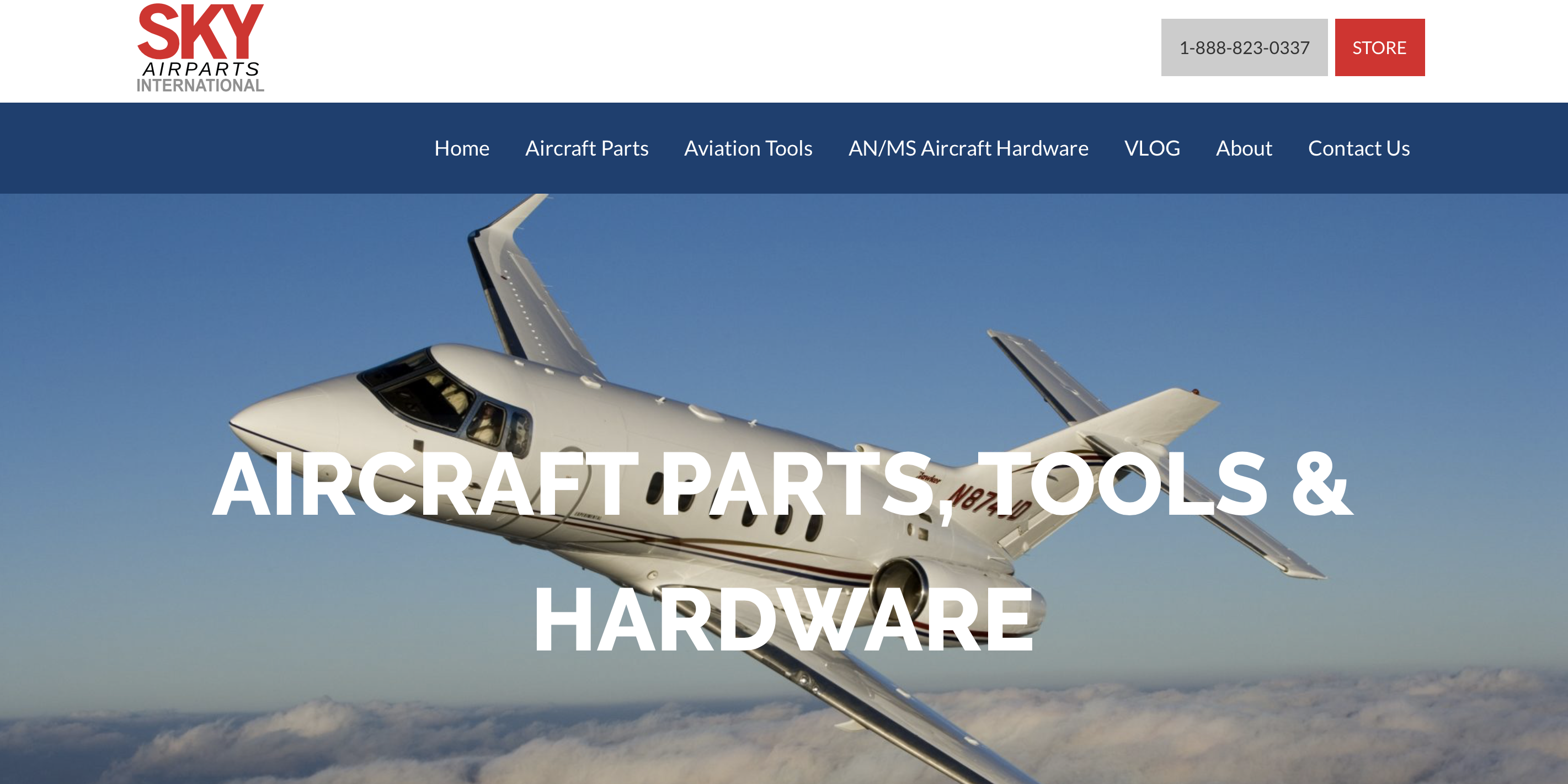 Sky Airparts homepage - after redesign