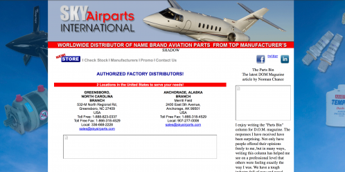 Sky Airparts homepage - before redesign